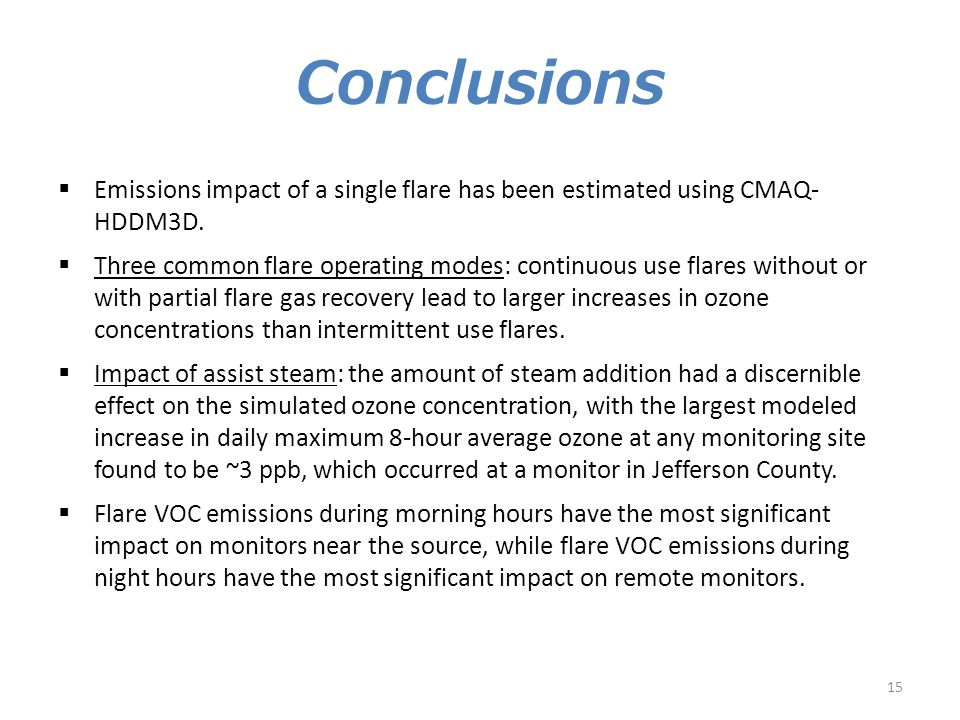 Conclusions  Emissions impact of a single flare has been estimated using CMAQ- HDDM3D.  Three common flare operating modes: continuous use flares wi