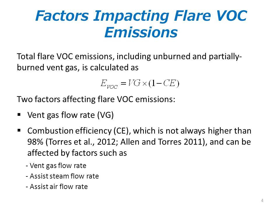 Factors Impacting Flare VOC Emissions Total flare VOC emissions, including unburned and partially- burned vent gas, is calculated as Two factors affec