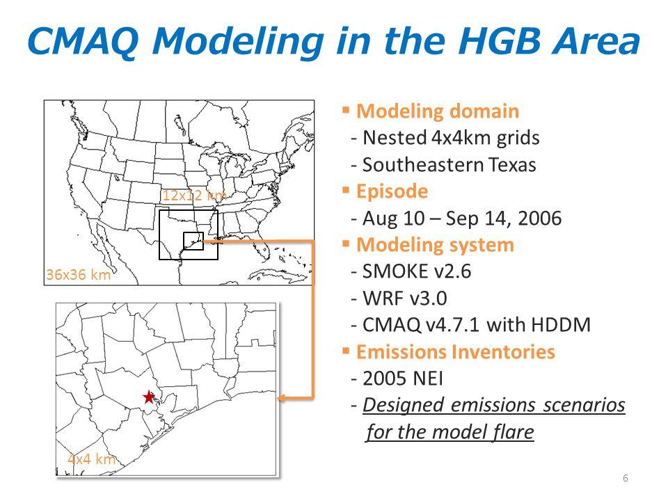 36x36 km 12x12 km 4x4 km  Modeling domain - Nested 4x4km grids - Southeastern Texas  Episode - Aug 10 – Sep 14, 2006  Modeling system - SMOKE v2.6