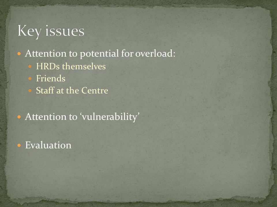 Attention to potential for overload: HRDs themselves Friends Staff at the Centre Attention to 'vulnerability' Evaluation