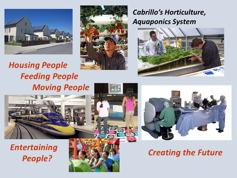Housing People Feeding People Moving People Cabrillo's Horticulture, Aquaponics System Entertaining People.