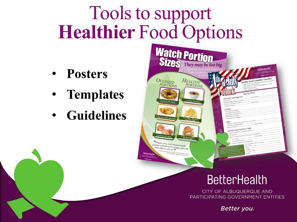 Tools to support Healthier Food Options Posters Templates Guidelines