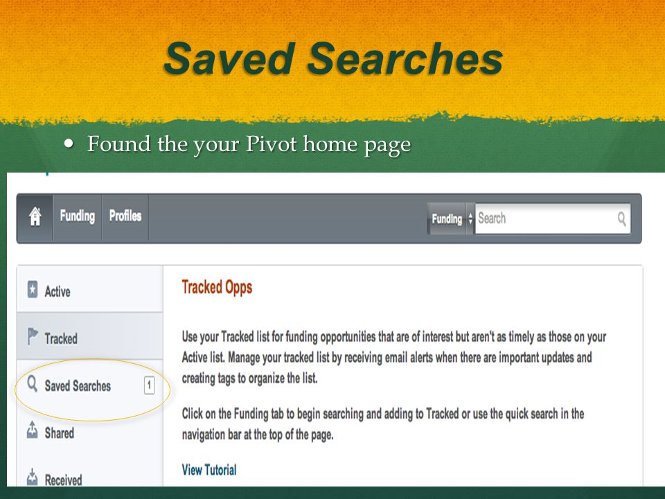 Saved Searches Found the your Pivot home page Found the your Pivot home page