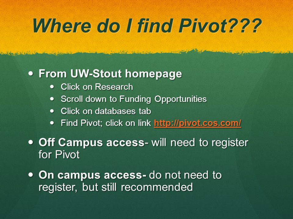 Where do I find Pivot??.