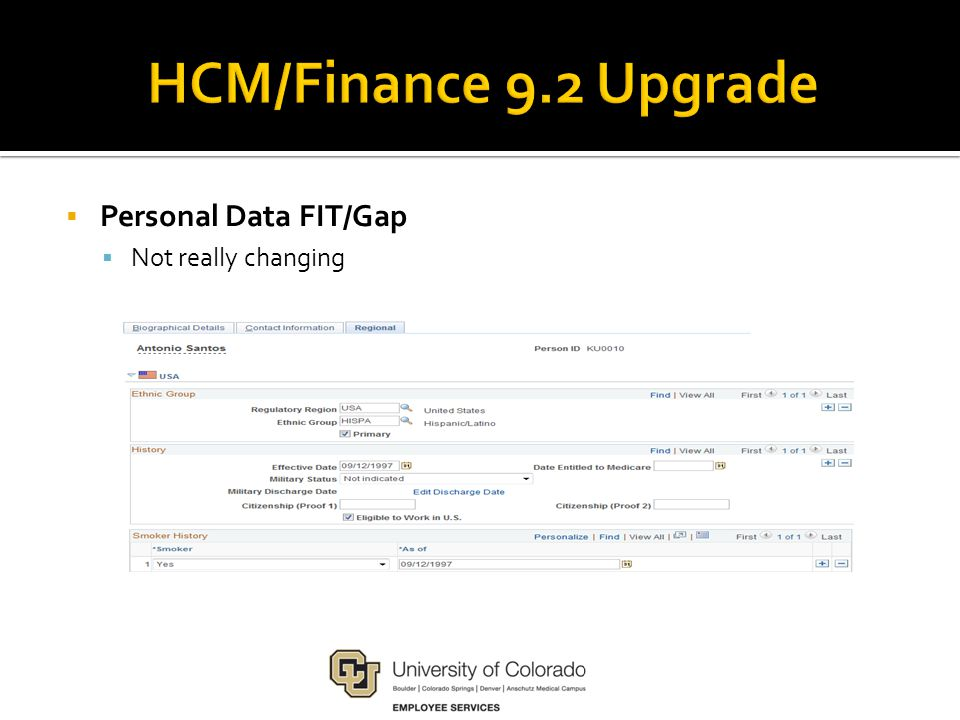  Personal Data FIT/Gap  Not really changing