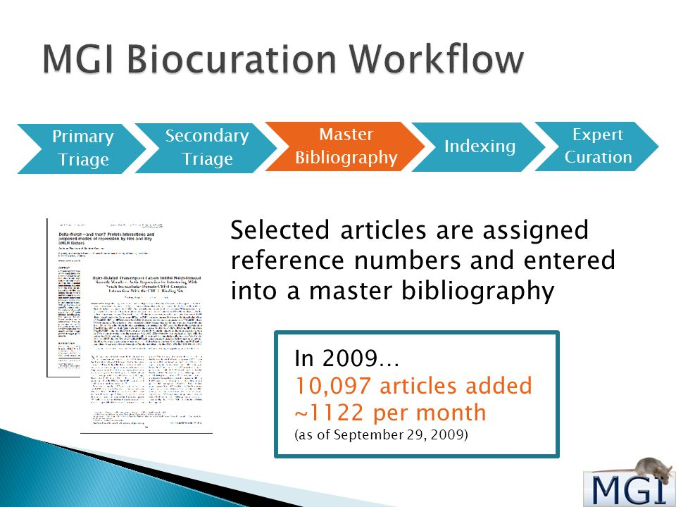 Primary Triage Secondary Triage Master Bibliography Indexing Expert Curation Selected articles are assigned reference numbers and entered into a master bibliography In 2009… 10,097 articles added ~1122 per month (as of September 29, 2009)