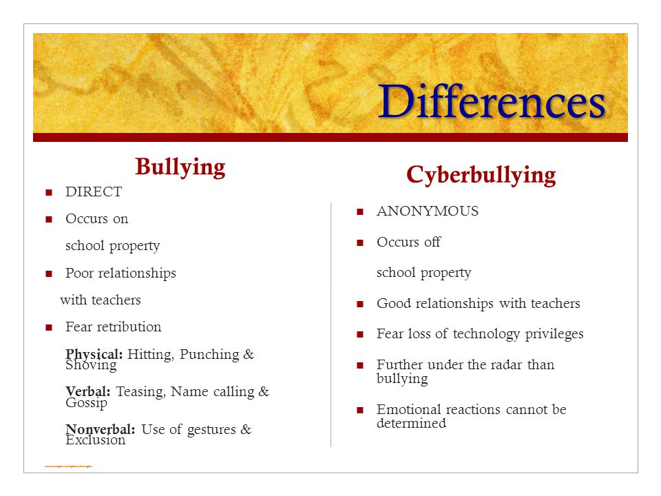 Differences Bullying DIRECT Occurs on school property Poor relationships with teachers Fear retribution Physical: Hitting, Punching & Shoving Verbal: Teasing, Name calling & Gossip Nonverbal: Use of gestures & Exclusion www.stopbullyingnow.hrsa.gov Cyberbullying ANONYMOUS Occurs off school property Good relationships with teachers Fear loss of technology privileges Further under the radar than bullying Emotional reactions cannot be determined
