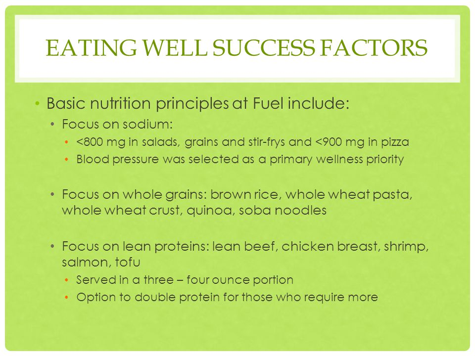 EATING WELL SUCCESS FACTORS Basic nutrition principles at Fuel include: Focus on sodium: <800 mg in salads, grains and stir-frys and <900 mg in pizza Blood pressure was selected as a primary wellness priority Focus on whole grains: brown rice, whole wheat pasta, whole wheat crust, quinoa, soba noodles Focus on lean proteins: lean beef, chicken breast, shrimp, salmon, tofu Served in a three – four ounce portion Option to double protein for those who require more