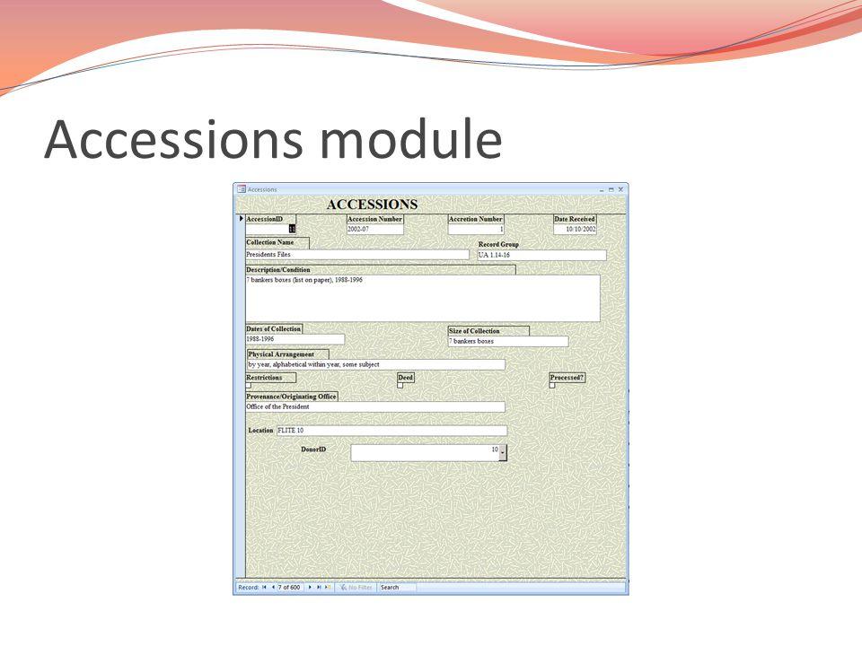 Accessions module