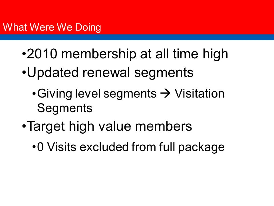 What Were We Doing 2010 membership at all time high Updated renewal segments Giving level segments  Visitation Segments Target high value members 0 Visits excluded from full package