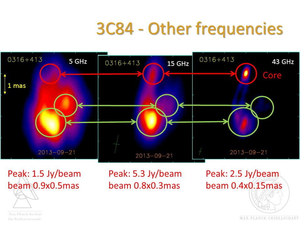 3C84 - Other frequencies 5 GHz 1 mas 15 GHz Peak: 1.5 Jy/beam beam 0.9x0.5mas 43 GHz 5 GHz Core Peak: 5.3 Jy/beam beam 0.8x0.3mas Peak: 2.5 Jy/beam beam 0.4x0.15mas