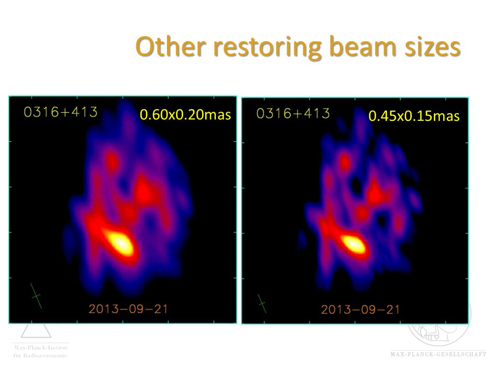 Other restoring beam sizes 0.60x0.20mas 0.45x0.15mas
