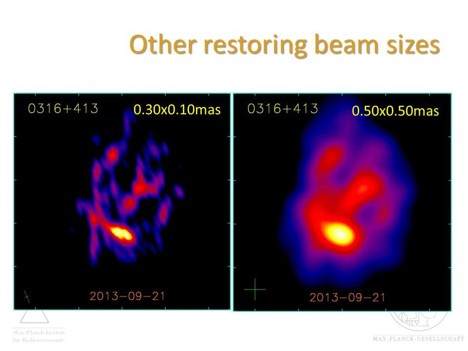 Other restoring beam sizes 0.30x0.10mas 0.50x0.50mas