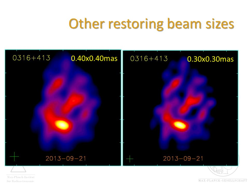Other restoring beam sizes 0.40x0.40mas 0.30x0.30mas