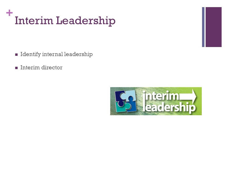 + Interim Leadership Identify internal leadership Interim director
