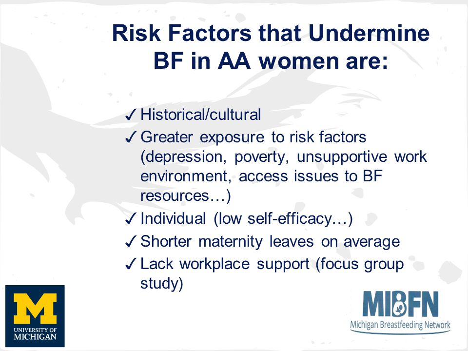 Risk Factors that Undermine BF in AA women are: ✓ Historical/cultural ✓ Greater exposure to risk factors (depression, poverty, unsupportive work environment, access issues to BF resources…) ✓ Individual (low self-efficacy…) ✓ Shorter maternity leaves on average ✓ Lack workplace support (focus group study)