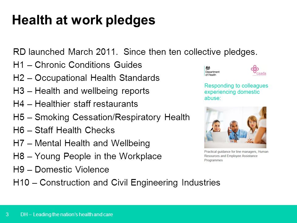 3 Health at work pledges RD launched March 2011. Since then ten collective pledges.