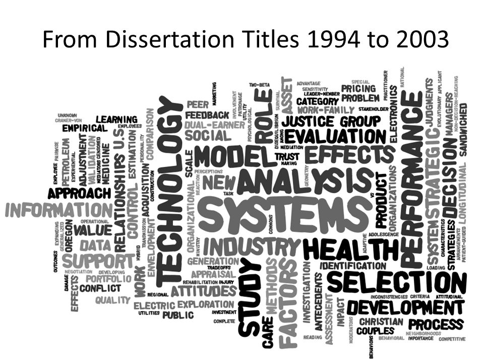 From Dissertation Titles 1994 to 2003
