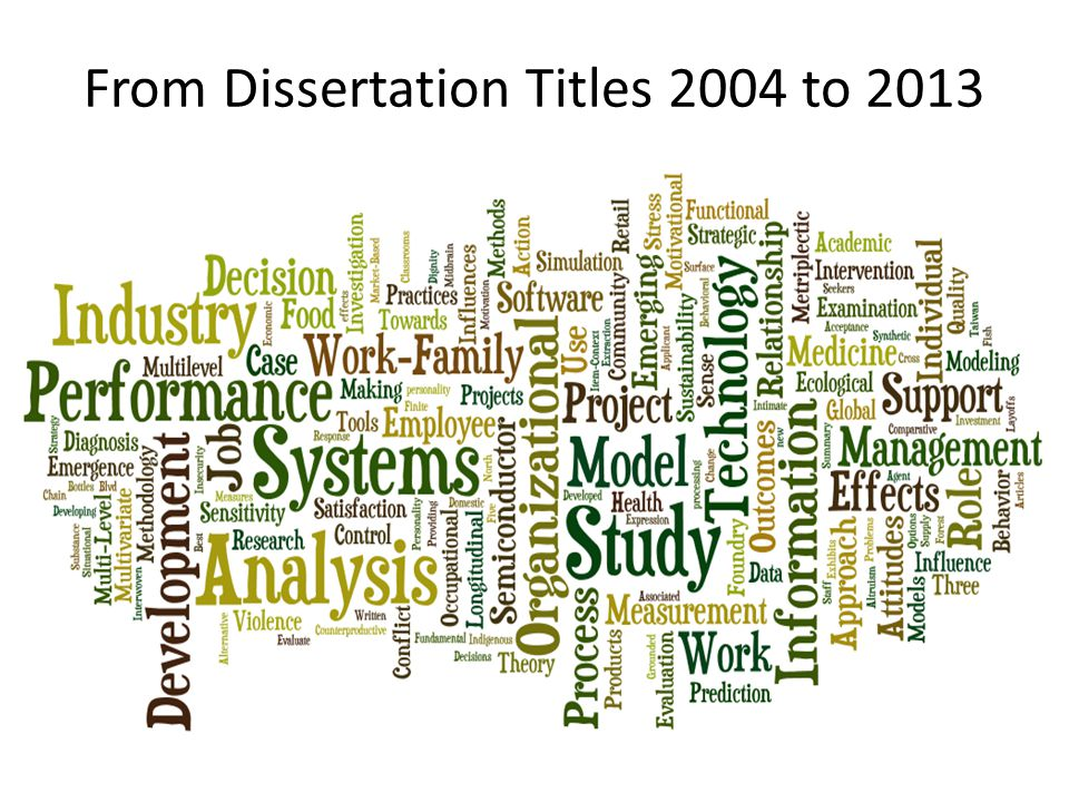 From Dissertation Titles 2004 to 2013