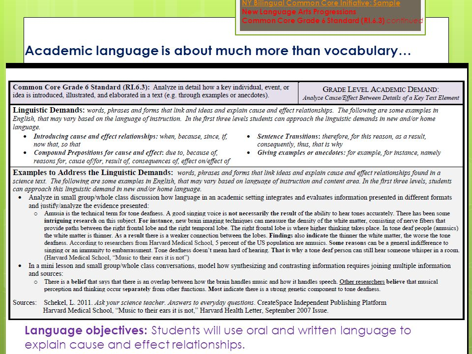 Academic language is about much more than vocabulary… NY Bilingual Common Core Initiative: Sample New Language Arts Progressions Common Core Grade 6 Standard (RI.6.3) continued Language objectives: Students will use oral and written language to explain cause and effect relationships.