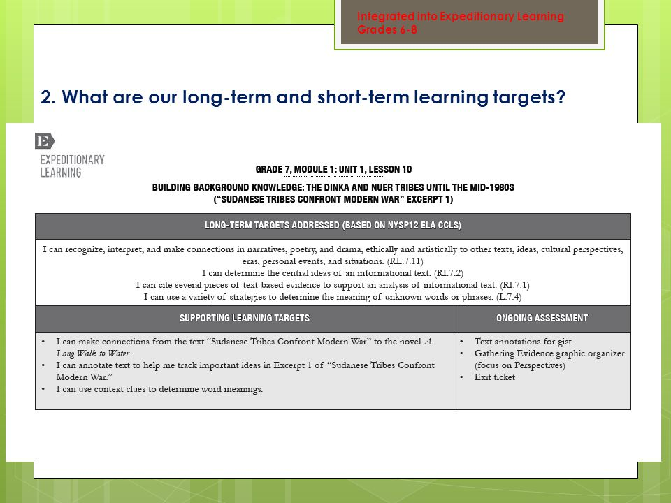 2. What are our long-term and short-term learning targets.