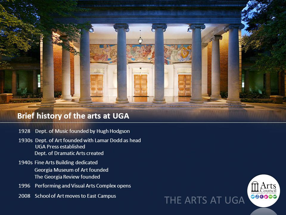 Brief history of the arts at UGA 1928 Dept. of Music founded by Hugh Hodgson 1930s Dept.