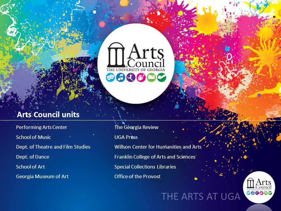 Arts Council units Performing Arts Center School of Music Dept. of Theatre and Film Studies Dept. of Dance School of Art Georgia Museum of Art THE ART