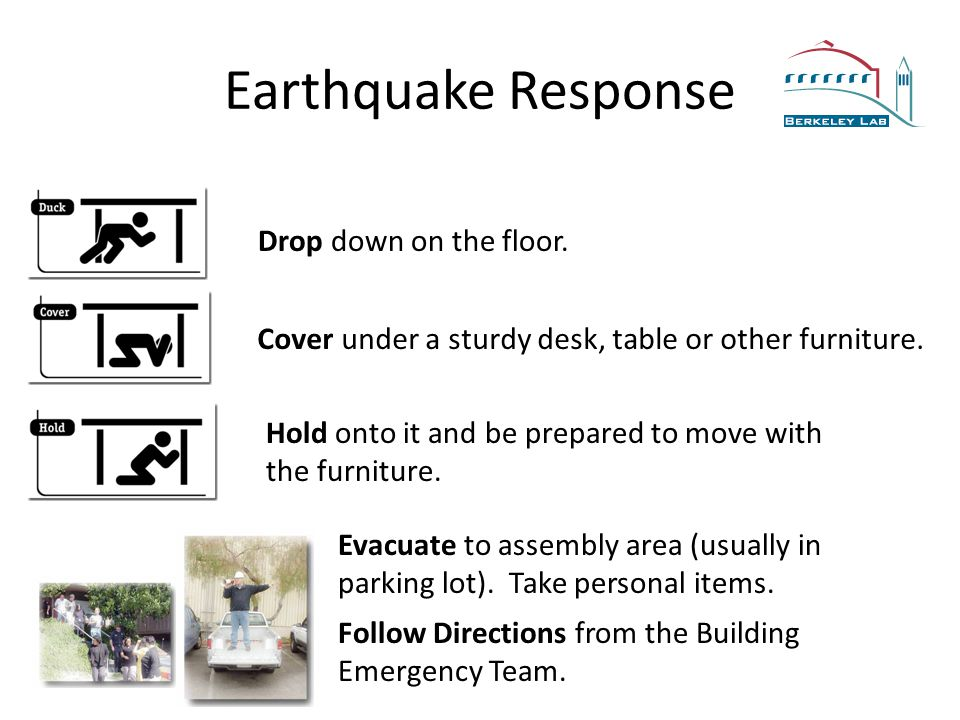 Earthquake Response Drop down on the floor. Cover under a sturdy desk, table or other furniture.