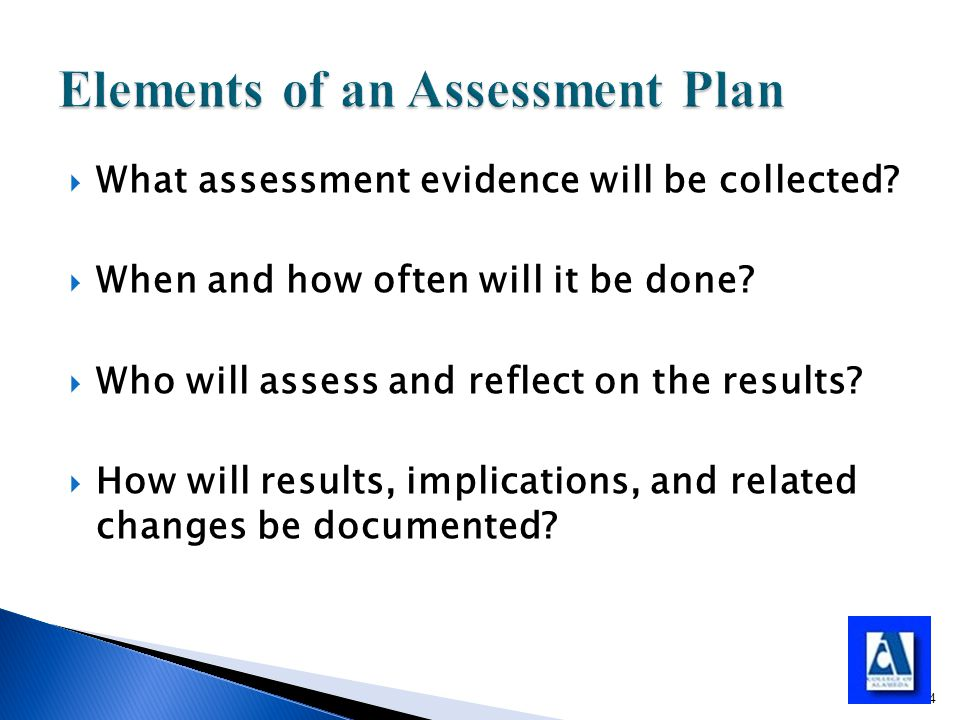  What assessment evidence will be collected.  When and how often will it be done.