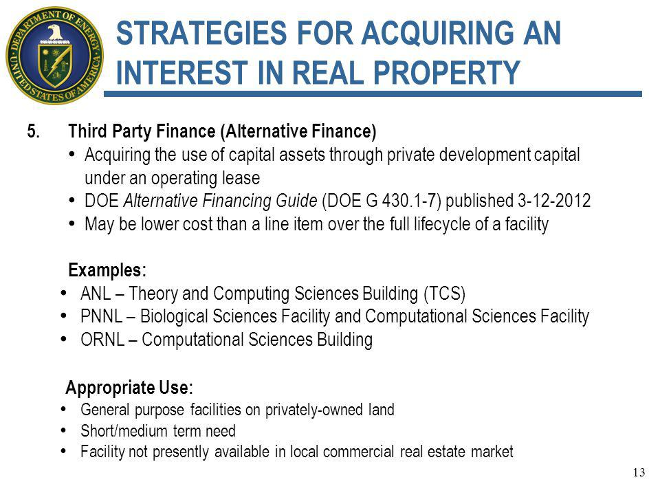 STRATEGIES FOR ACQUIRING AN INTEREST IN REAL PROPERTY 5.Third Party Finance (Alternative Finance) Acquiring the use of capital assets through private