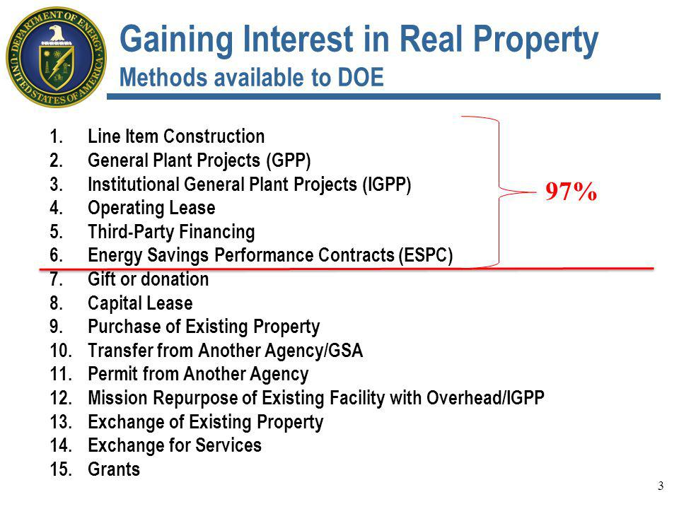 Description of Other Potential Methods (Continued) 2.Public-Private Venture (PPV) Authorize DOE to enter into a lease-purchase contract to purchase/construct facilities and accrue equity resulting in: DOE owning the facility DOE holding an option to purchase the facility at a price reduced by the equity accrued Submitted to OMB in January 2013 Rejected upon receipt 3.Special Legislation Authorize specific projects or waive general requirements in specific instances, for specific parcels/facilities 24