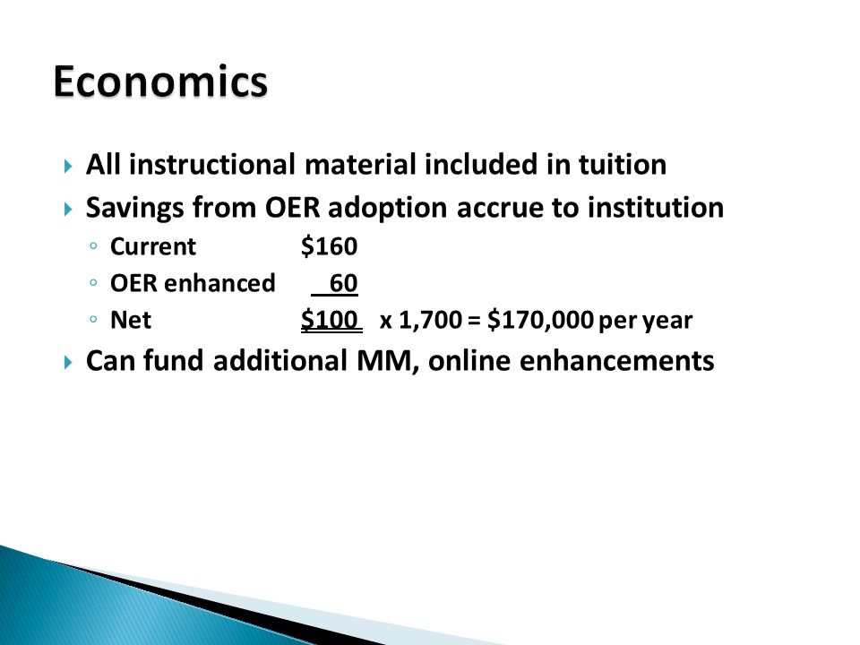  All instructional material included in tuition  Savings from OER adoption accrue to institution ◦ Current$160 ◦ OER enhanced 60 ◦ Net$100 x 1,700 = $170,000 per year  Can fund additional MM, online enhancements