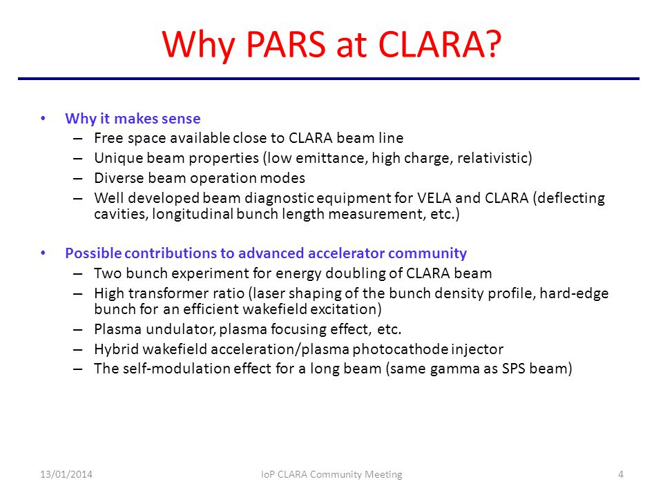 Why PARS at CLARA.