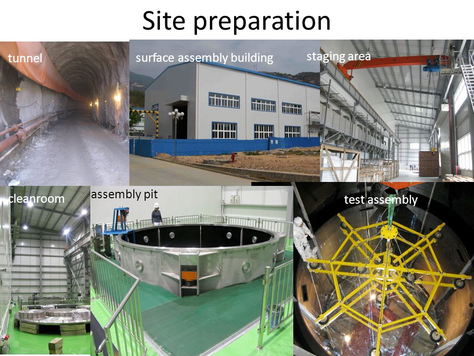 Site preparation entrance portal assembly pit cleanroom tunnel surface assembly building staging area test assembly assembly pit