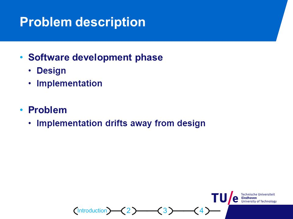 Problem description Software development phase Design Implementation Problem Implementation drifts away from design