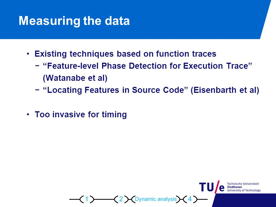 Measuring the data Existing techniques based on function traces − Feature-level Phase Detection for Execution Trace (Watanabe et al) − Locating Features in Source Code (Eisenbarth et al) Too invasive for timing