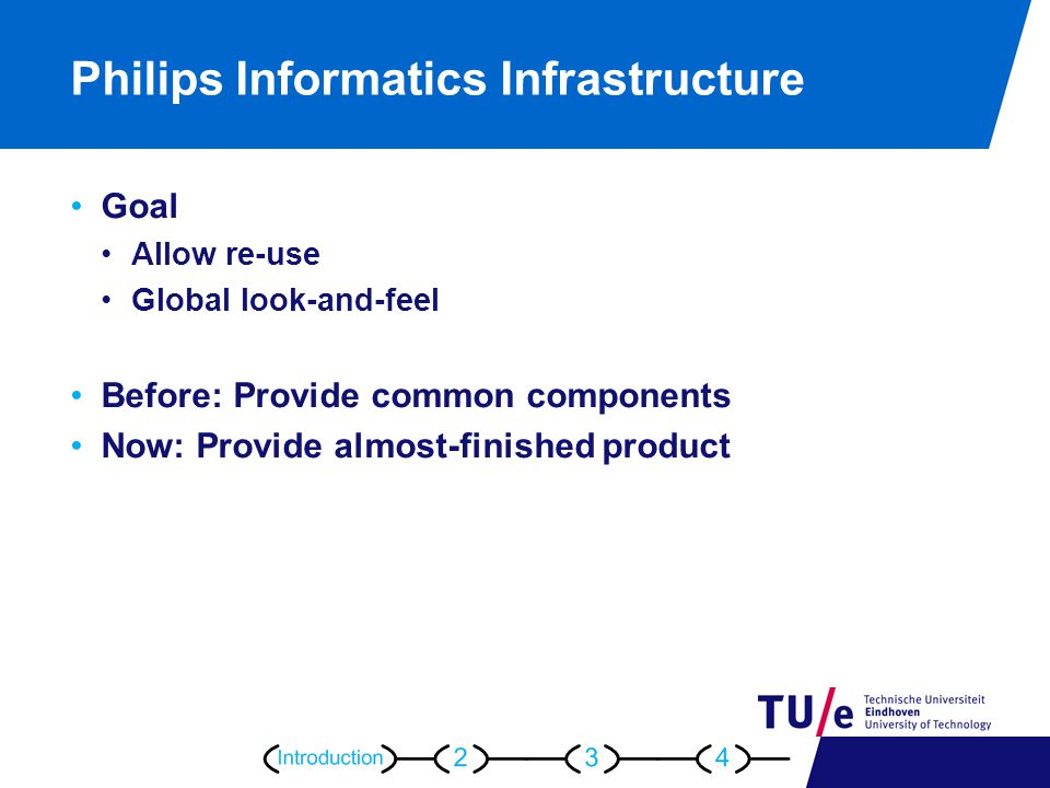 Philips Informatics Infrastructure Goal Allow re-use Global look-and-feel Before: Provide common components Now: Provide almost-finished product