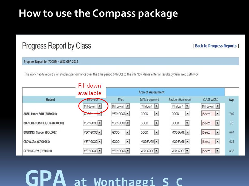 How to use the Compass package Fill down available