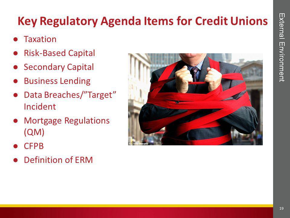 "19 External Environment ● Taxation ● Risk-Based Capital ● Secondary Capital ● Business Lending ● Data Breaches/""Target"" Incident ● Mortgage Regulation"