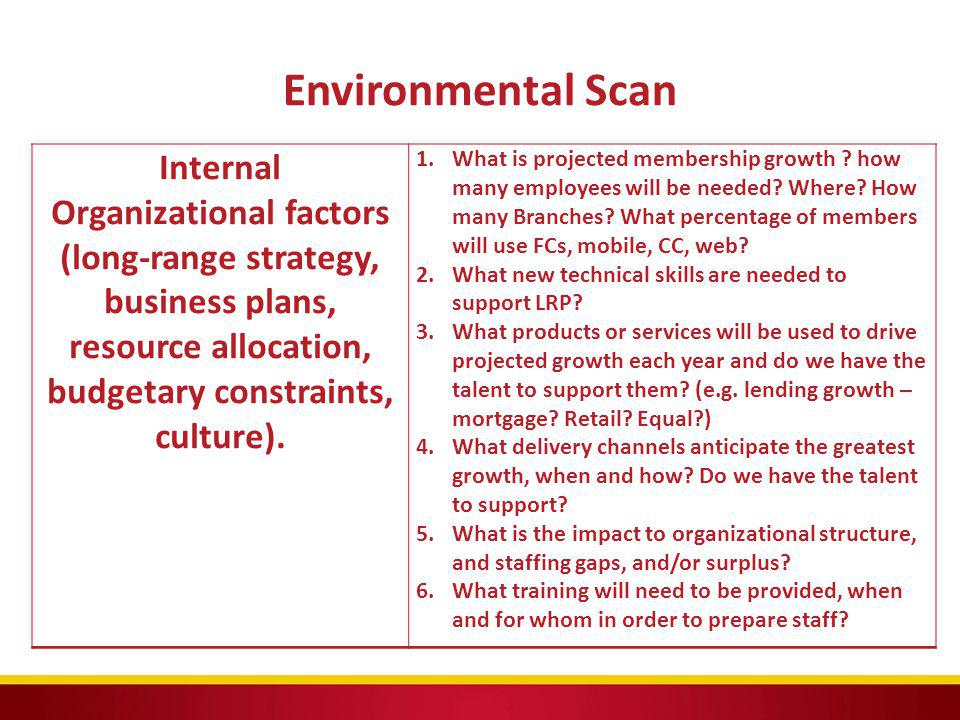 Environmental Scan Internal Organizational factors (long-range strategy, business plans, resource allocation, budgetary constraints, culture). 1.What