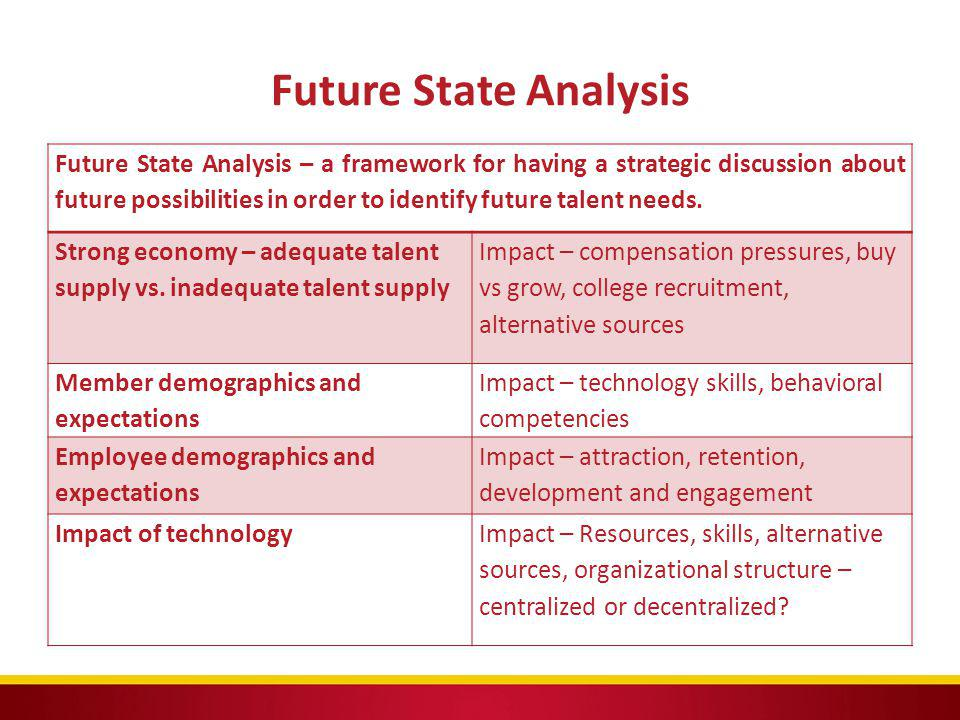 Future State Analysis Future State Analysis – a framework for having a strategic discussion about future possibilities in order to identify future tal
