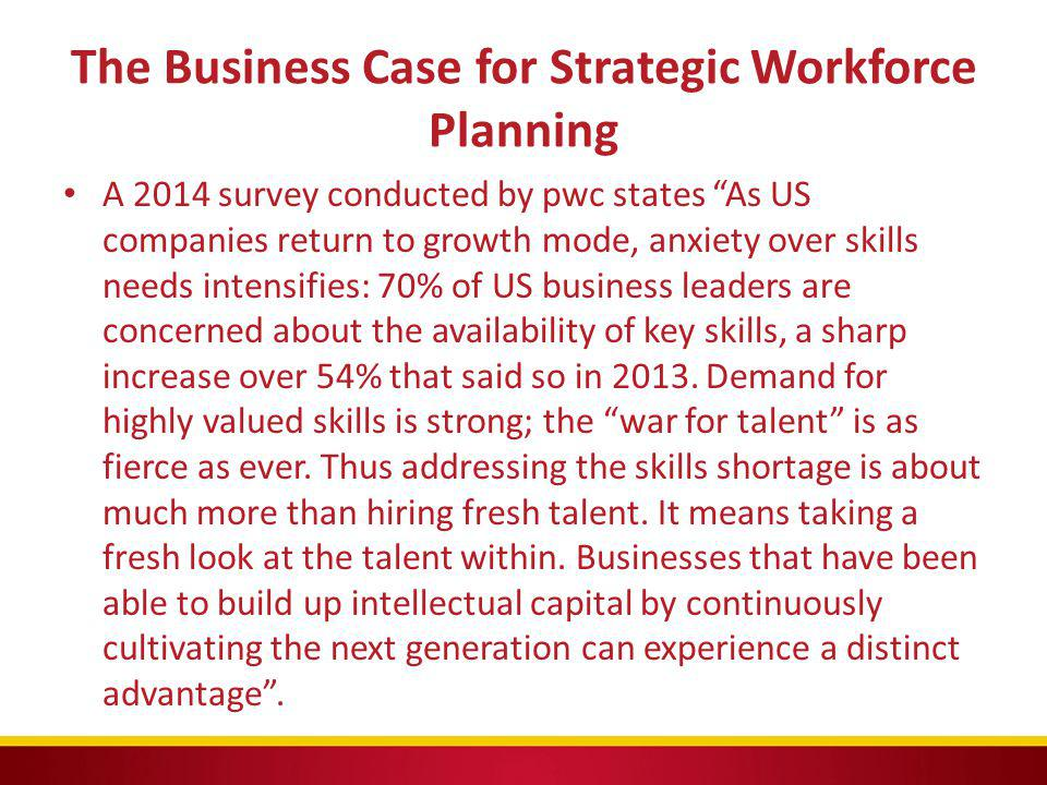 """The Business Case for Strategic Workforce Planning A 2014 survey conducted by pwc states """"As US companies return to growth mode, anxiety over skills n"""