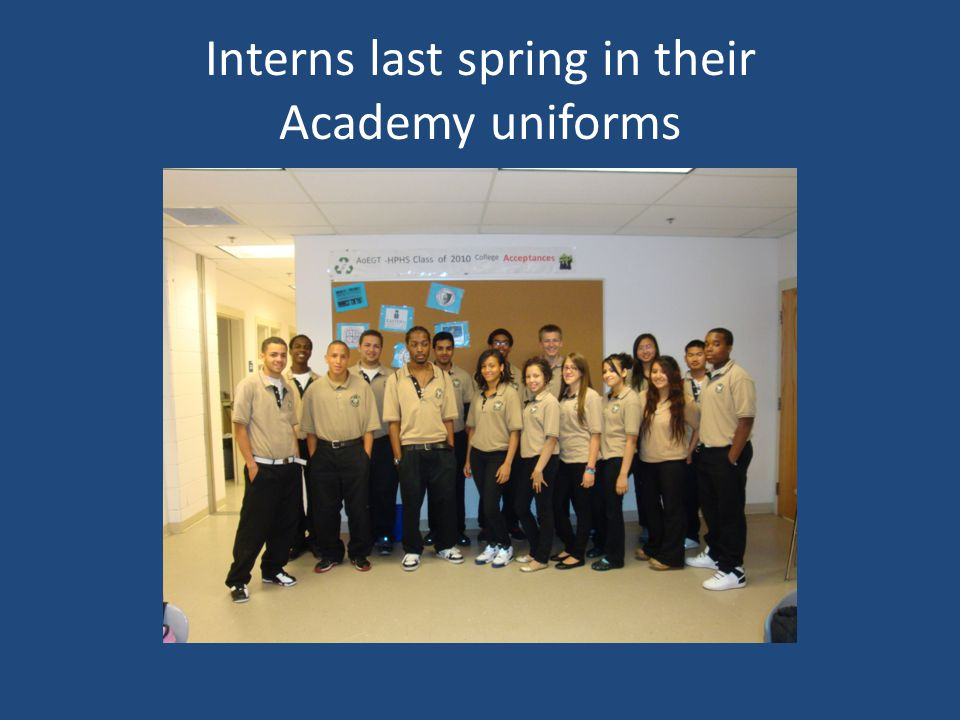 Interns last spring in their Academy uniforms