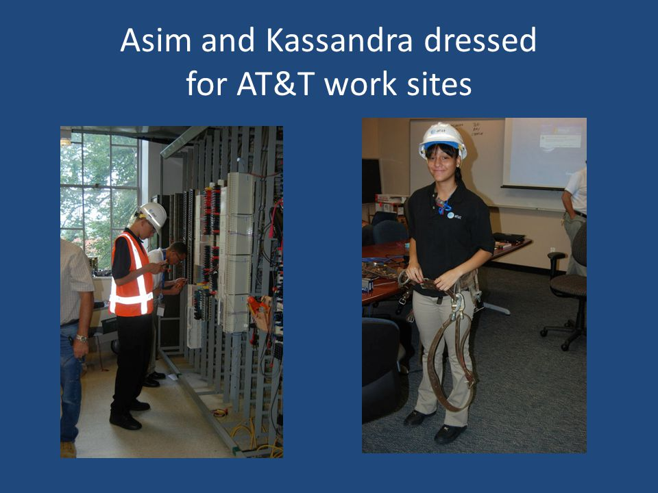 Asim and Kassandra dressed for AT&T work sites