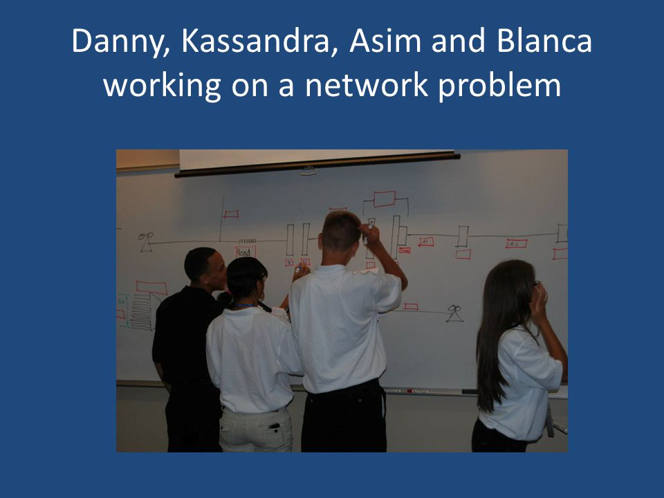 Danny, Kassandra, Asim and Blanca working on a network problem