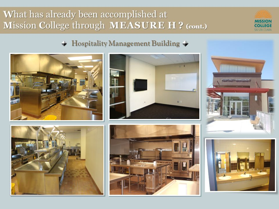 Hospitality Management Building What has already been accomplished at Mission College through MEASURE H .