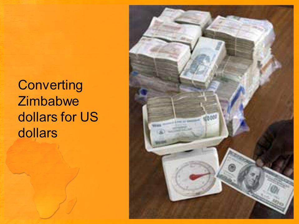 Converting Zimbabwe dollars for US dollars