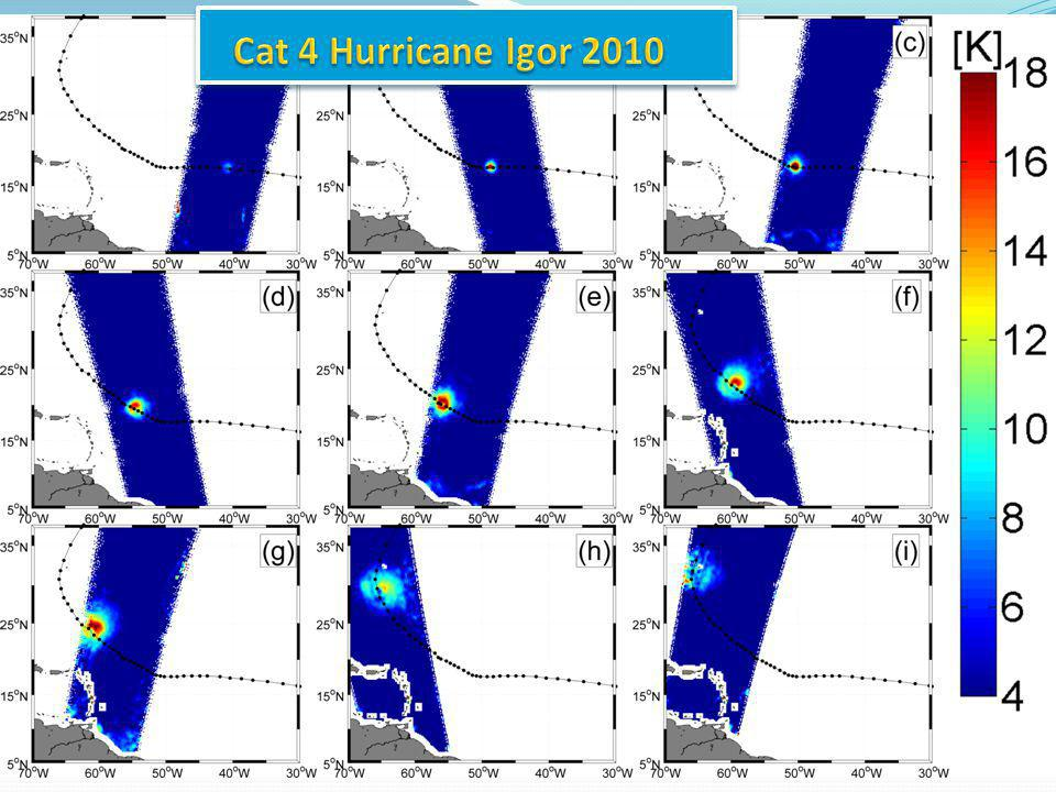 Development of a SMOS wind speed GMF based on Hwind products in IGOR hurricane Bilinear L-band dependencies with surface wind speed Reul et al., JGR, 2012 C-band L-band: 0.7K/m/s for hurricanes 0.3 k/(m/s) below