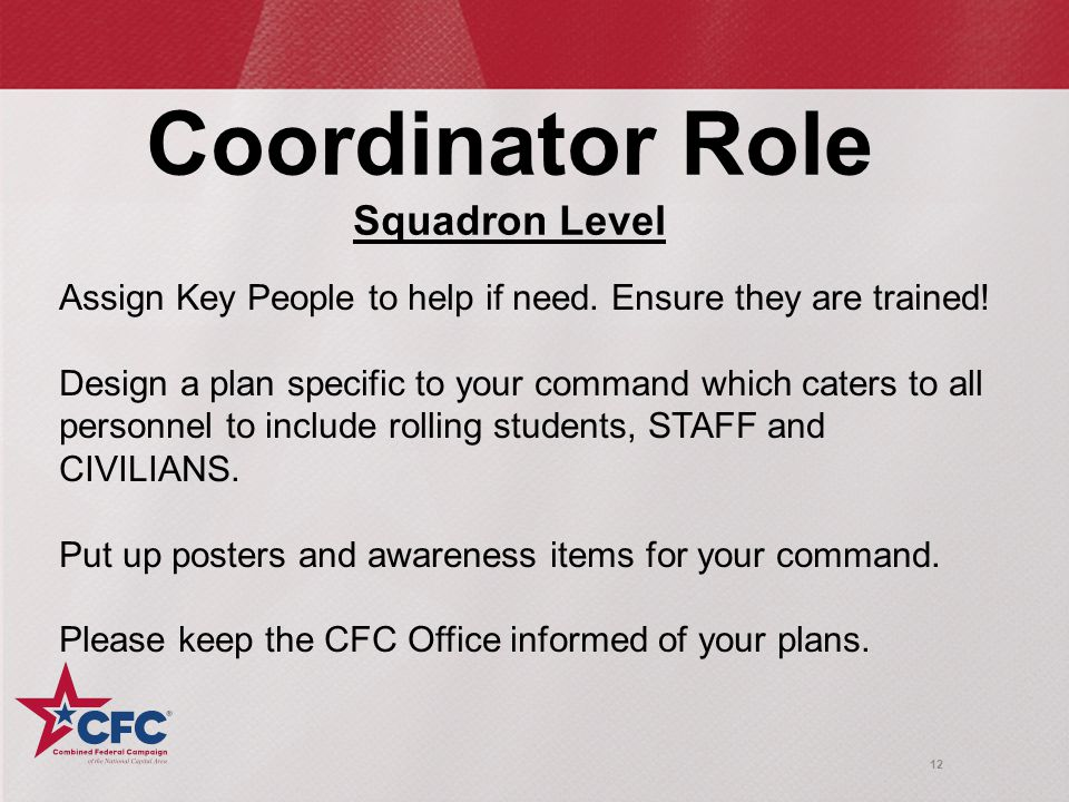 12 Coordinator Role Squadron Level Assign Key People to help if need.