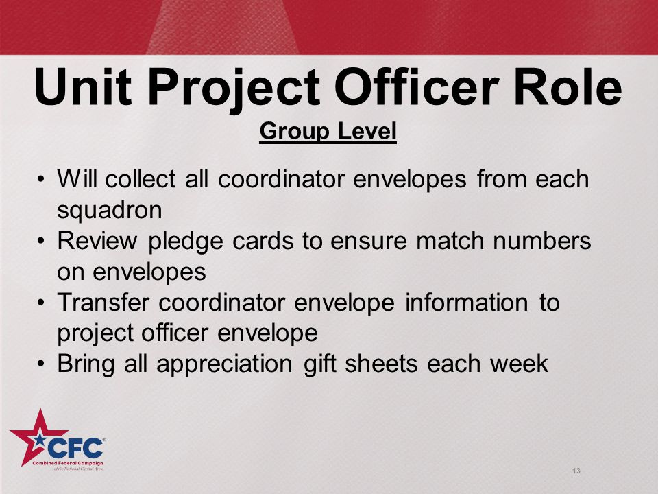 13 Unit Project Officer Role Group Level Will collect all coordinator envelopes from each squadron Review pledge cards to ensure match numbers on envelopes Transfer coordinator envelope information to project officer envelope Bring all appreciation gift sheets each week